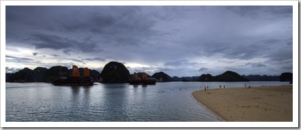 One of the few islands with a sandy beach in Halong Bay