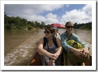Cruising up the Nam Khan River on the way to Tad Sae Waterfall