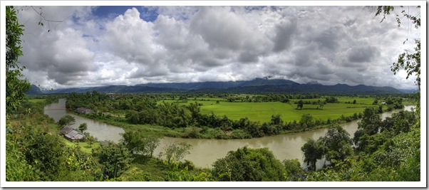 Panoramic view of Vang Vieng and the Nam Xong River from Thamchang Cave