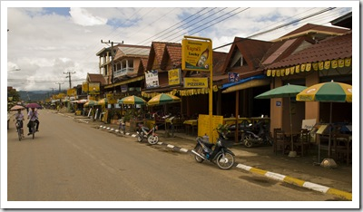 Endless bars and restaurants offering western food in Vang Vieng