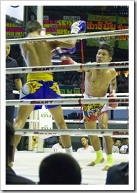The fight for the Lightweight Title of Thailand (blue won and defeated the reigning champion)