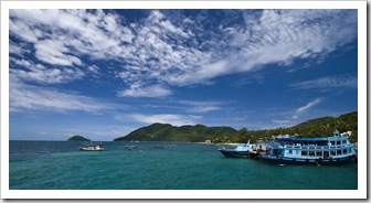 View north of Ko Tao from the harbor at Mae Haad Village