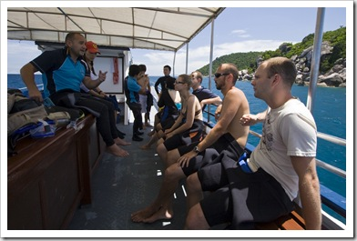 Mike getting his students ready for their first open water dive at Hin Wong Bay