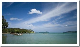 Long boats near Hat Rawai at the southern end of Phuket