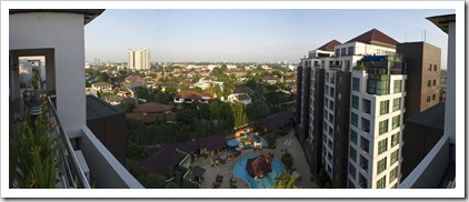 The view over southern Jakarta from Richie and Sophie's apartment in Hotel Kristal