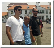 Richie and Sam taking photos with the locals at Old Batavia