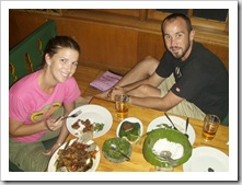 Lisa and Sam enjoying a traditional Indonesia meal at Dapur Sunda