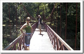 Lisa and Sam on the Hanging Bridge at the Bogor Botanic Gardens