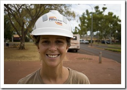 Lisa ready for a tour of the mining operation at Tom Price