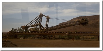 Shovels for loading the train at Tom Price mine