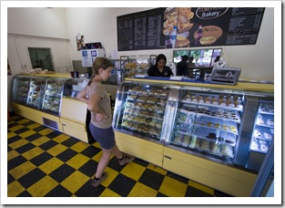 Lisa deciding on lunch at the Tom Price bakery