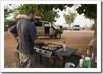 Sam cooking up a storm at Ocean View Caravan Park in Onslow