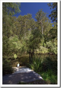 Our private steps to the Warren River from our campsite in Warren National Park