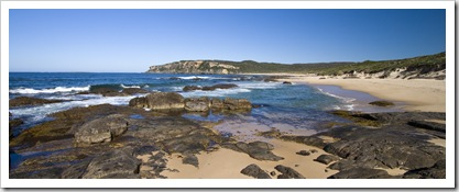 Looking at Point D'entrecasteaux from the beach at Windy Harbour