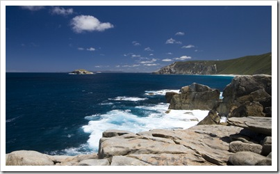 Looking west along the coast from Natural Bridge in Torndirrup National Park