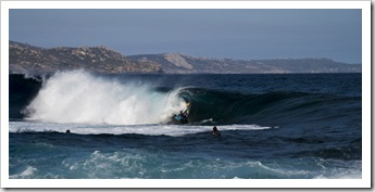 Locals enjoying the reef break at Betty's Beach