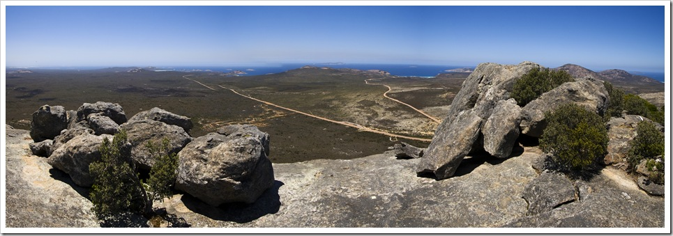 Panoramic of Lucky Bay and Thistle Cove from Frenchman's Peak