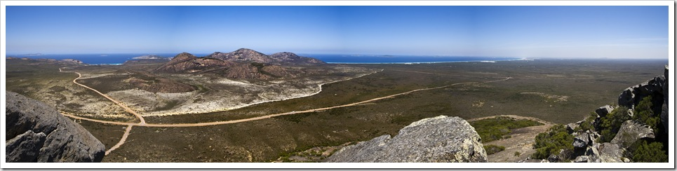 Panoramic of Thistle Cove, Cape Le Grand and Le Grand Beach from Frenchman's Peak