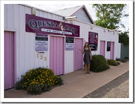 Lisa in front of Questa Casa (Kalgoorlie's oldest working brothel)