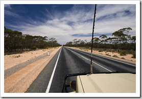 A lot of straight road and big skies across the Nullarbor Plain