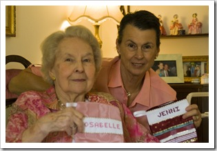 Rosabelle and Jenni with their stockings on Christmas morning
