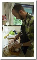 Sam carving the Christmas ham