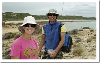 Chris and Lisa heading out for an afternoon of fishing at Nora Creina