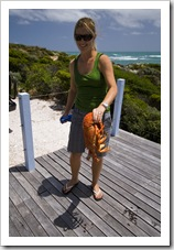 Lisa holding a 2.5 kilogram crayfish