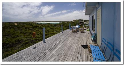 The front deck at Bob and Cathy's shack at Nora Creina
