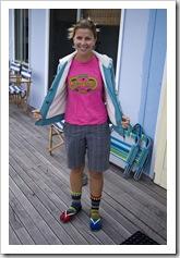 Colourful Lisa one morning at Nora Creina (notice the socks Carol)
