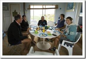 Bob, Gina, Sam, Chris and Lisa around the dinner table at Nora Creina