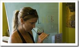 Lisa tasting at Hollick Winery