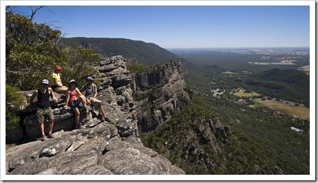 Chris, Gina, Lisa and Sam next to The Pinnacle with Halls Gap in the distance