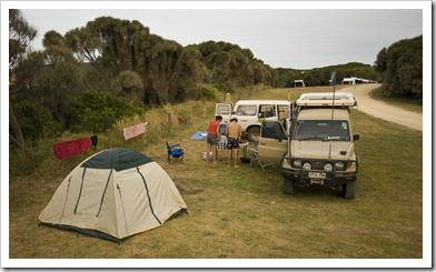 Our campsite at Johanna Beach