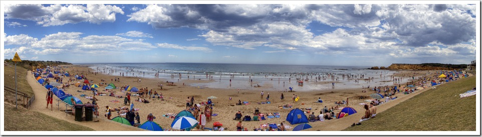 A packed beach at Torquay