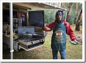 Chris cooking up a storm at our Wonnongatta River campsite