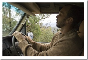 Sam driving cautiously along the Wombat Spur Track