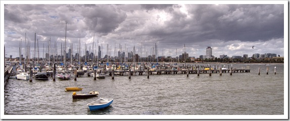 Yachts at the Saint Kilda Pier with the city of Melbourne in the background