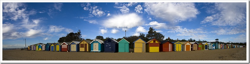 Panorama of the Brighton beach huts