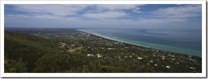 Looking south along the western coast of the Mornington Peninsula from Arthur's Seat