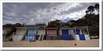 Beach huts on the beach at Portsea