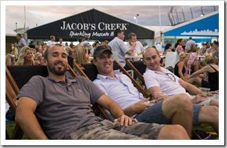 Sam, Jarrod and Greg in the Heiniken Beer Garden