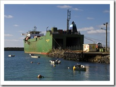The freight ship delivering supplies to King Island in Grassy