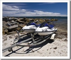 Getting ready to launch the jetskis in Quarantine Bay