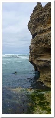 Sam diving for abalone at Nora Creina