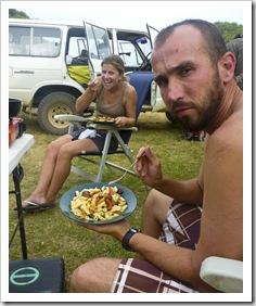 Sam and Lisa feasting on dinner