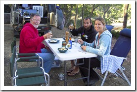 Greg, Sam and Lisa at our campsite on Lake King William