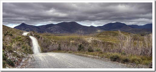 The road through the Arthur Pieman Conservation Area