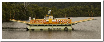 The Fatman Barge from Corinna to the southern bank of the Pieman River