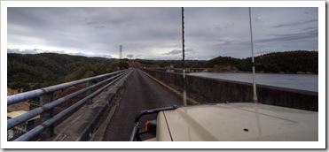 The Tank driving across the massive Reece Dam
